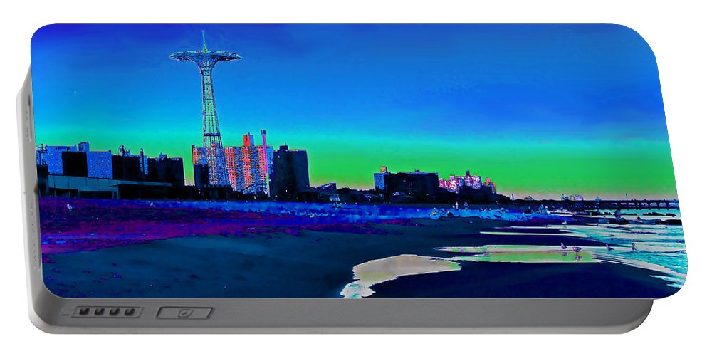 Coney Island Portable Battery Charger featuring the photograph Coney Island Parachute Jump And Beach by Kendall Eutemey