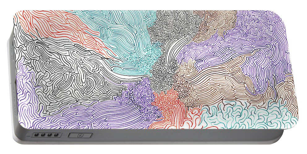Mazes Portable Battery Charger featuring the drawing Confluence by Steven Natanson