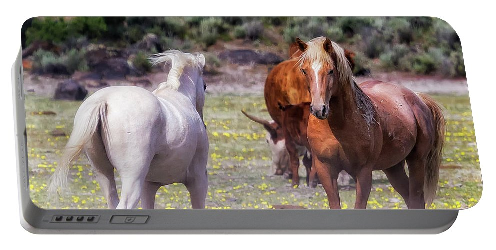 Wildhorses Portable Battery Charger featuring the photograph Confrontation by Belinda Greb