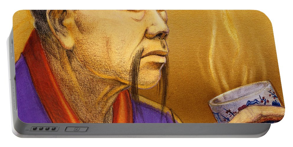 Oriental Portable Battery Charger featuring the painting Confucian Sage by Melissa A Benson