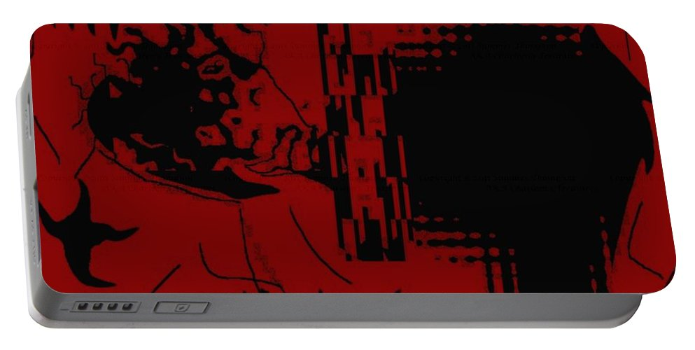 Red Portable Battery Charger featuring the digital art Confusion by Charleen Treasures