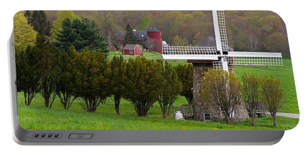 Windmill Portable Battery Charger featuring the photograph Connecticut Windmill. by David Freuthal
