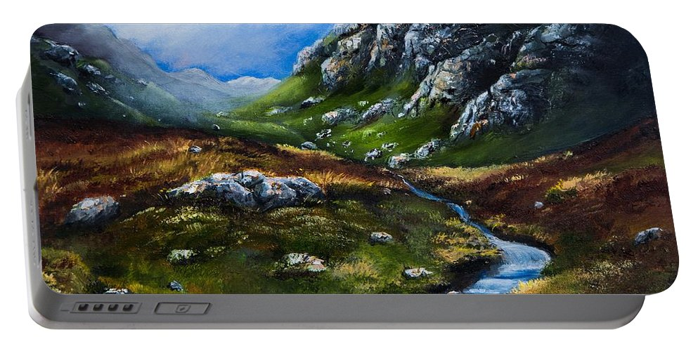 Connemara Portable Battery Charger featuring the painting Connemara Galway by Gabriella Szabo