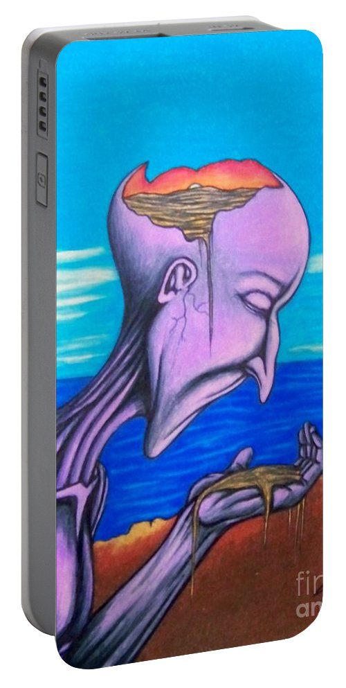 Michael Portable Battery Charger featuring the drawing Conscious Thought by Michael TMAD Finney