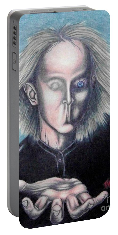 Tmad Portable Battery Charger featuring the drawing Consciousness by Michael TMAD Finney