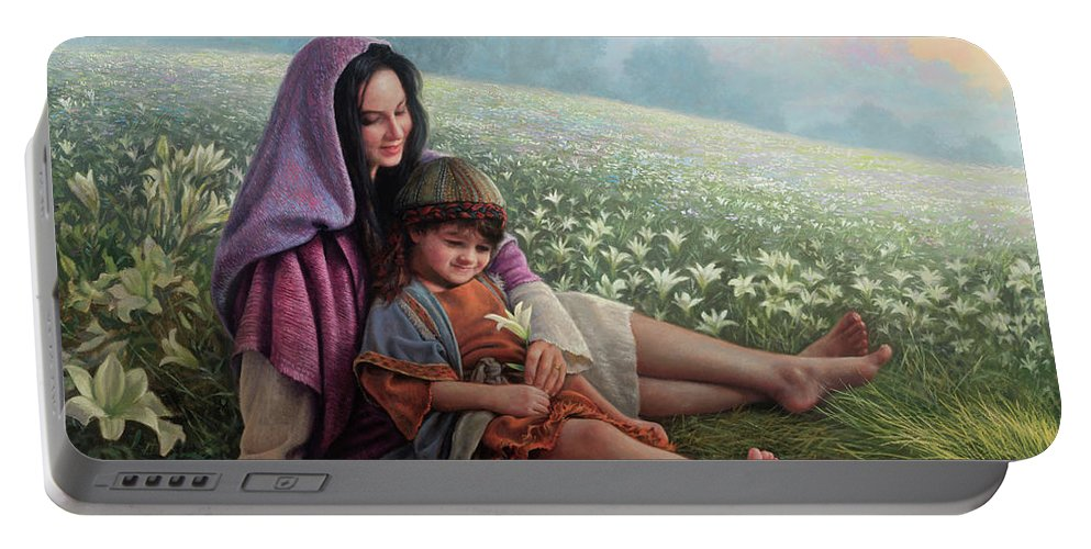 Jesus Portable Battery Charger featuring the painting Consider The Lilies by Greg Olsen