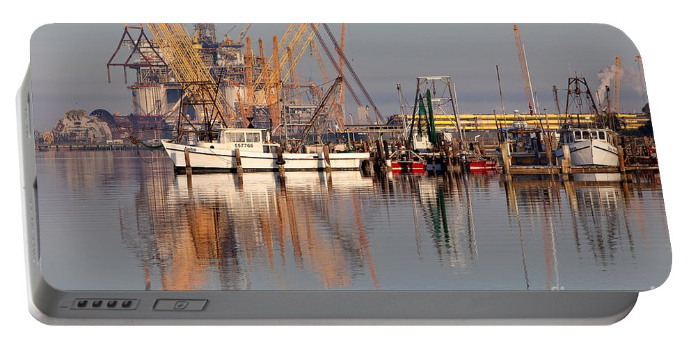 Oil Portable Battery Charger featuring the photograph Construction Of Oil Platform With Boats by Inga Spence