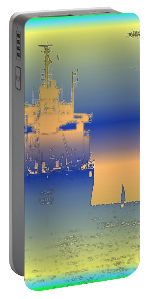 Puget Sound Portable Battery Charger featuring the photograph Container Sail 2 by Tim Allen