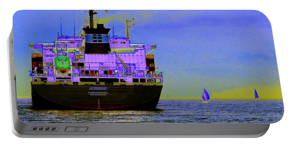Seattle Portable Battery Charger featuring the photograph Container Sail by Tim Allen