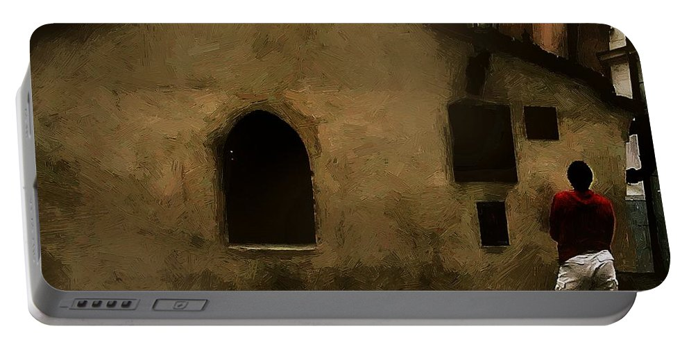 Antiquities Portable Battery Charger featuring the painting Contemplating Antiquity by RC DeWinter
