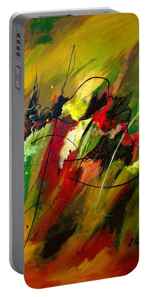 Abstract Portable Battery Charger featuring the painting Contemplating Perseverance by Ruth Palmer