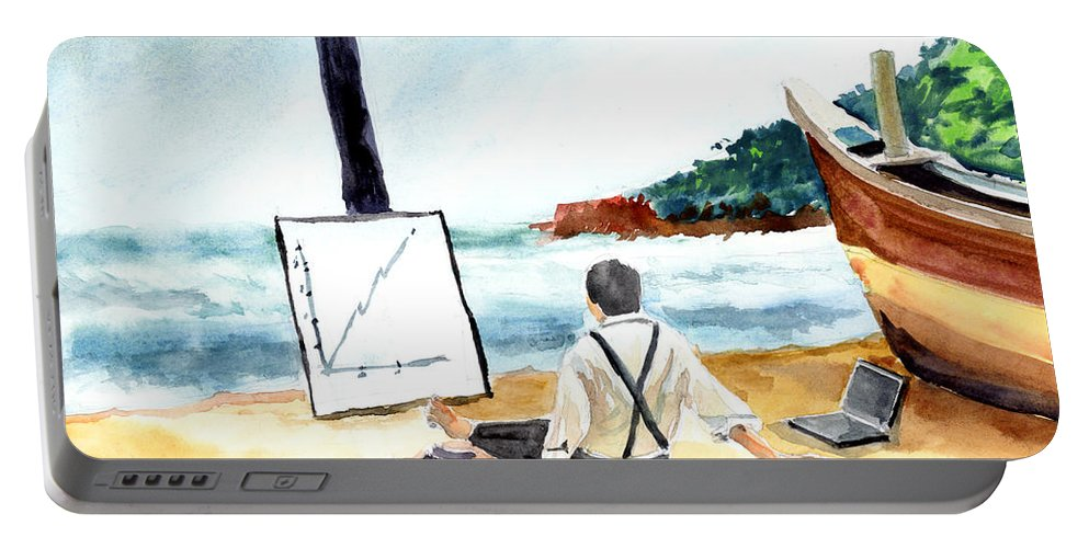 Landscape Portable Battery Charger featuring the painting Contemplation by Anil Nene