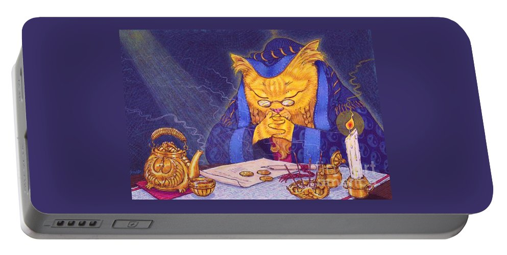 Cat Portable Battery Charger featuring the painting Contemplation by Sin D Piantek