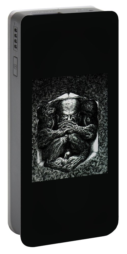 Dark Portable Battery Charger featuring the drawing Contemplation by Tobey Anderson