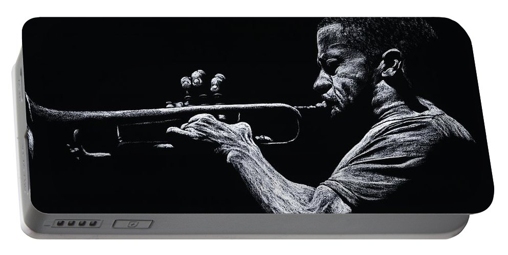 Musician Portable Battery Charger featuring the pastel Contemporary Jazz Trumpeter by Richard Young