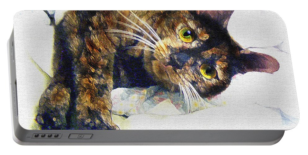 Cat Portable Battery Charger featuring the painting Contented Cat by Jane Schnetlage