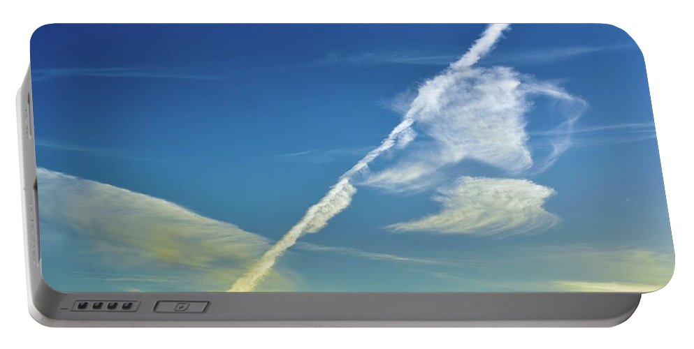 Abstract Portable Battery Charger featuring the photograph Contrails And Clouds Two by Lyle Crump