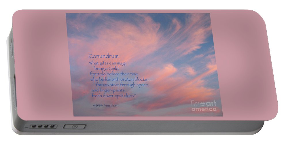 Sky Portable Battery Charger featuring the photograph Conundrum by Ann Horn