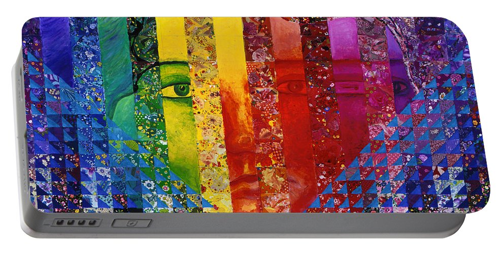 Colorful Portable Battery Charger featuring the mixed media Conundrum I - Rainbow Woman by Diane Clancy