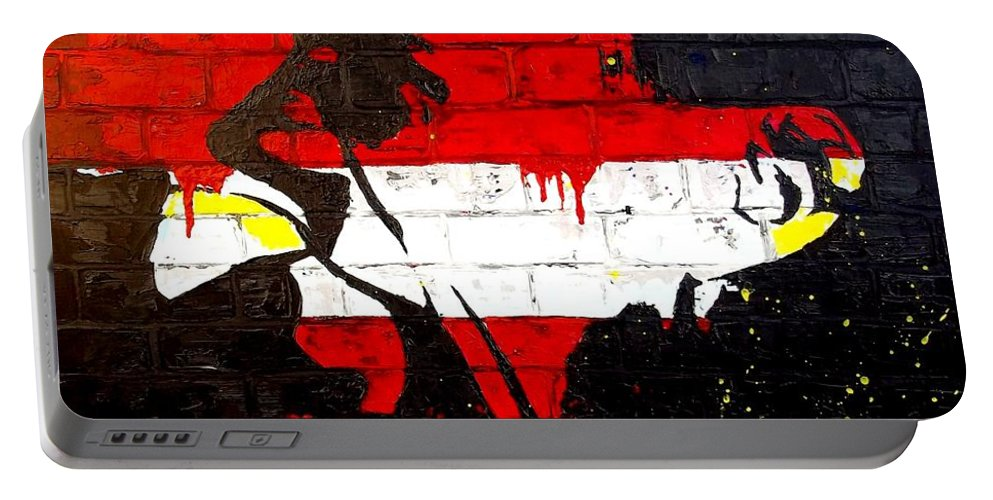 Silhouette Portable Battery Charger featuring the painting Convenience States by Angie Wright