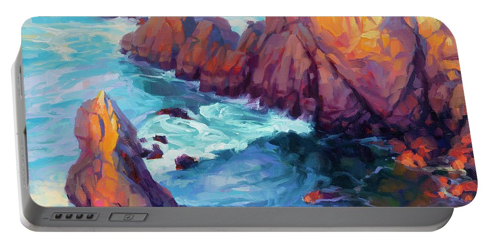 Ocean Portable Battery Charger featuring the painting Convergence by Steve Henderson