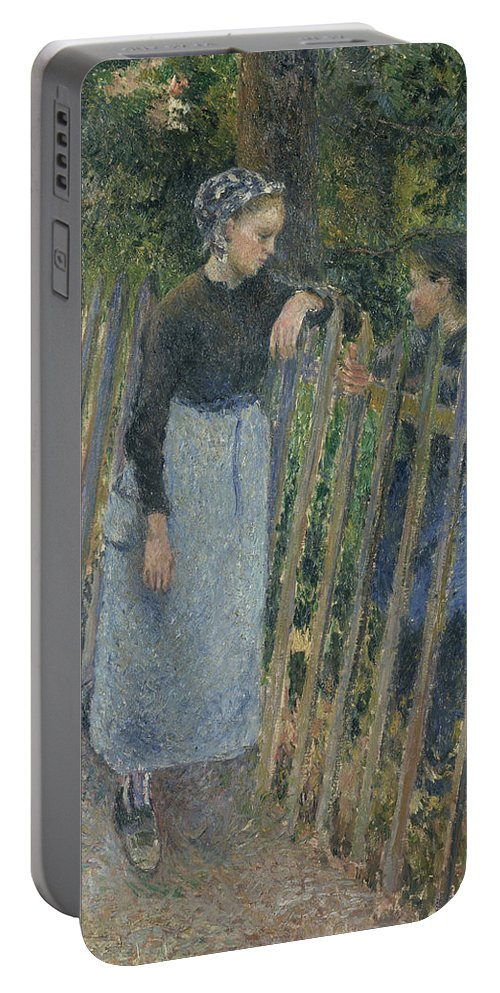 Camille Pissarro Portable Battery Charger featuring the painting Conversation by Camille Pissarro