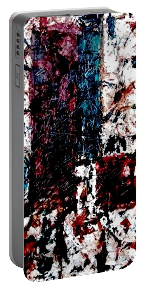 Oil Painting Portable Battery Charger featuring the painting Conversation by Fareeha Khawaja