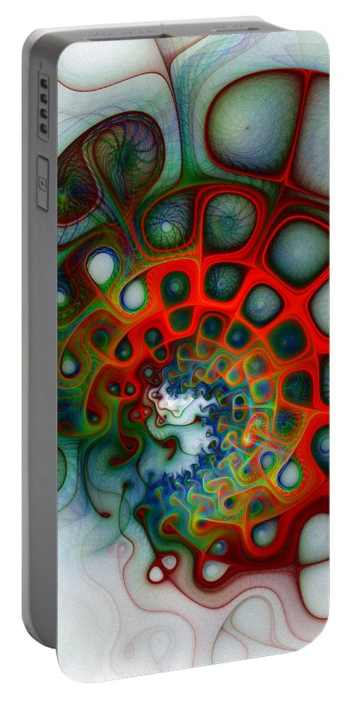 Digital Art Portable Battery Charger featuring the digital art Convolutions by Amanda Moore