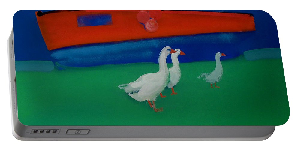 Geese Portable Battery Charger featuring the painting Cool And Dry by Charles Stuart
