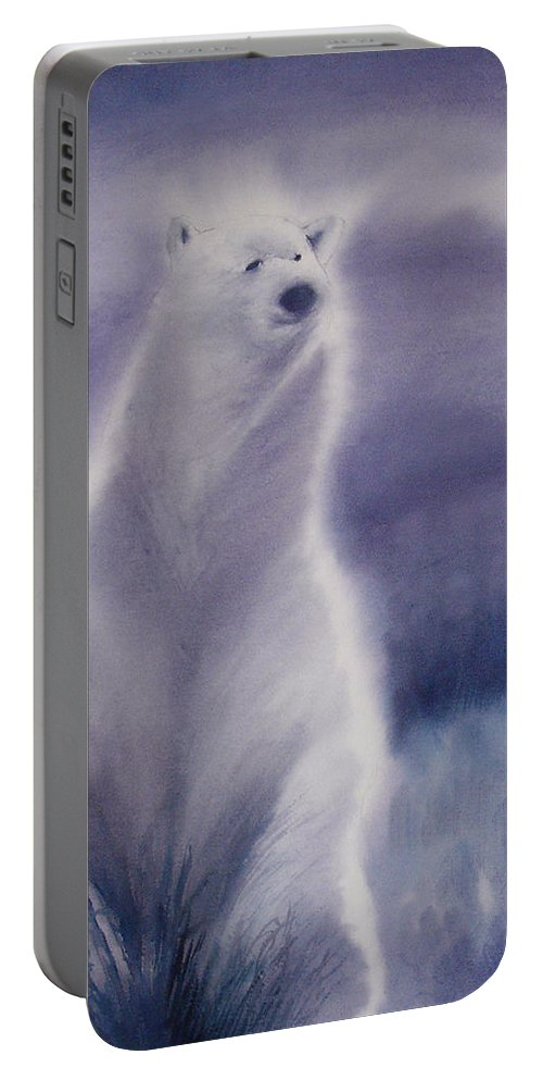 Bear Portable Battery Charger featuring the painting Cool Bear by Allison Ashton