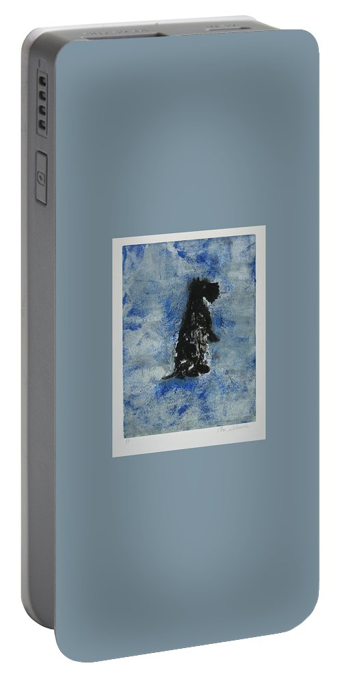 Monotype Portable Battery Charger featuring the mixed media Cool Blue by Cori Solomon