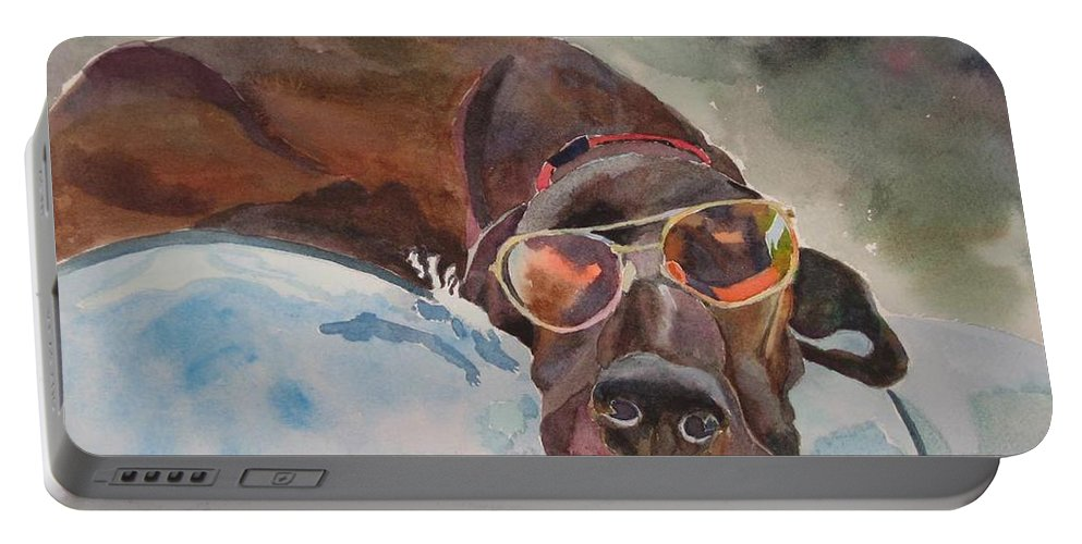 Dog Portable Battery Charger featuring the painting Cool Lab With Sunglasses by Brenda Kennerly