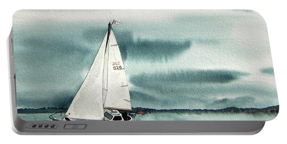 Sailing Portable Battery Charger featuring the painting Cool Sail by Gale Cochran-Smith