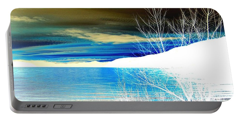 Winter Portable Battery Charger featuring the digital art Cool Waters by Will Borden