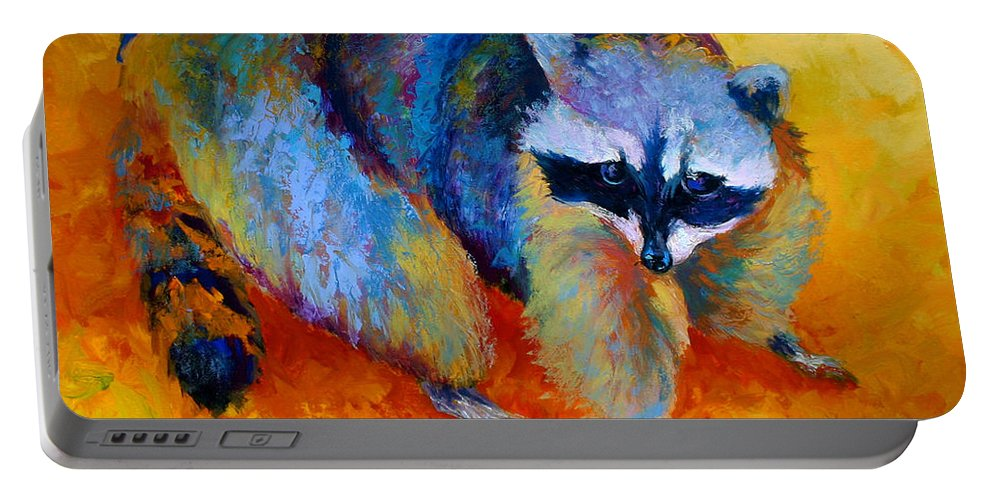 Racoon Portable Battery Charger featuring the painting Coon by Marion Rose
