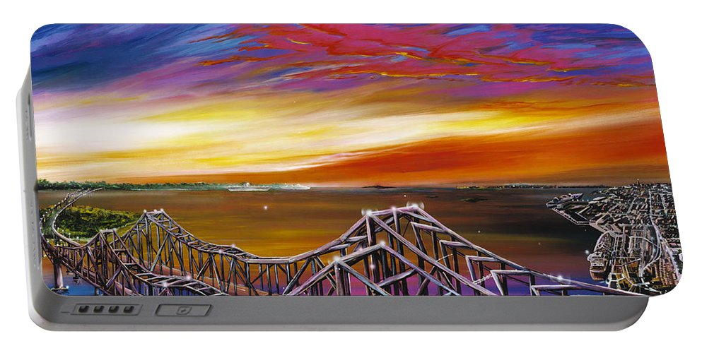 Clouds Portable Battery Charger featuring the painting Cooper River Bridge by James Christopher Hill