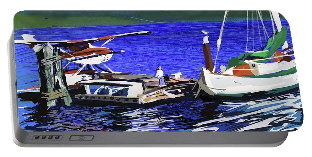 Seaplane Dock Boat Child Ocean Sea Fishing Houseboat Portable Battery Charger featuring the digital art Coos Bay Dockside by Brian Gerritsen