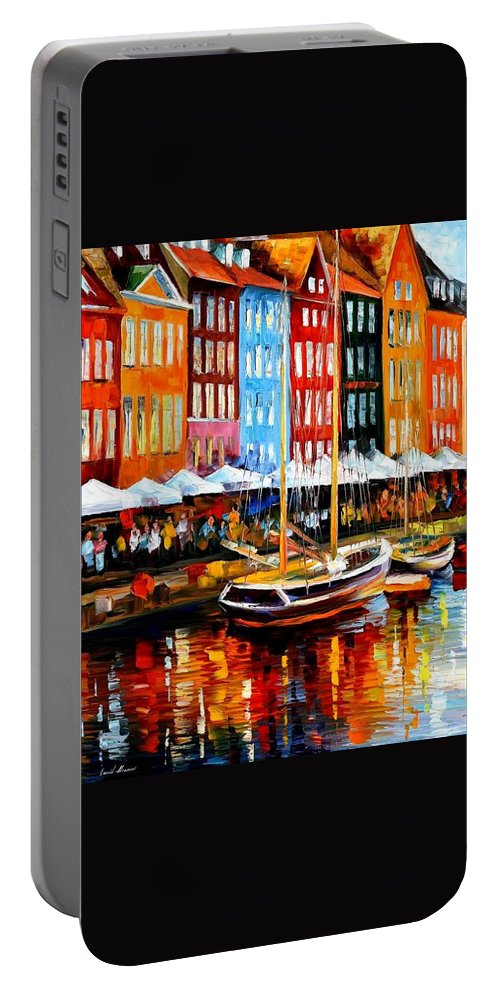 Afremov Portable Battery Charger featuring the painting Copenhagen Denmark by Leonid Afremov
