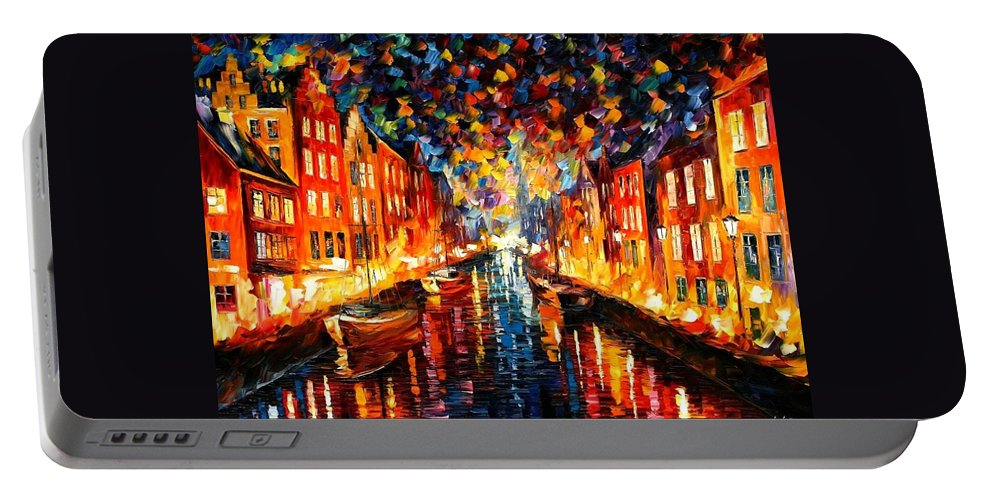 Afremov Portable Battery Charger featuring the painting Copenhagen by Leonid Afremov