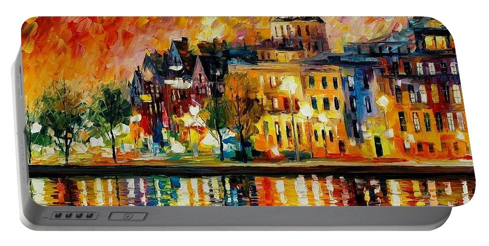 City Portable Battery Charger featuring the painting Copenhagen Original Oil Painting by Leonid Afremov