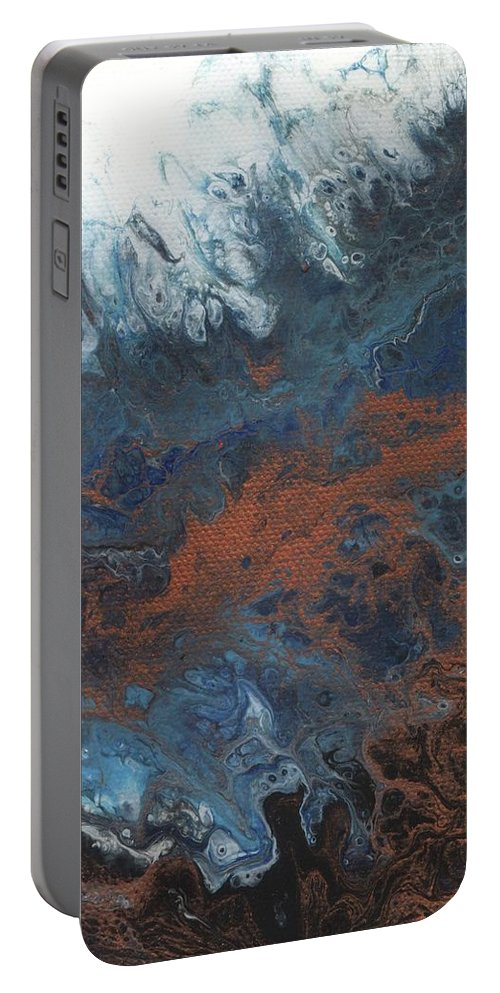 Abstract Portable Battery Charger featuring the painting Copper Abstract 2 by Melissa Burke