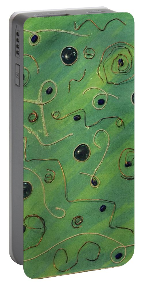 Copper Portable Battery Charger featuring the painting Copper And String by Nancy Sisco