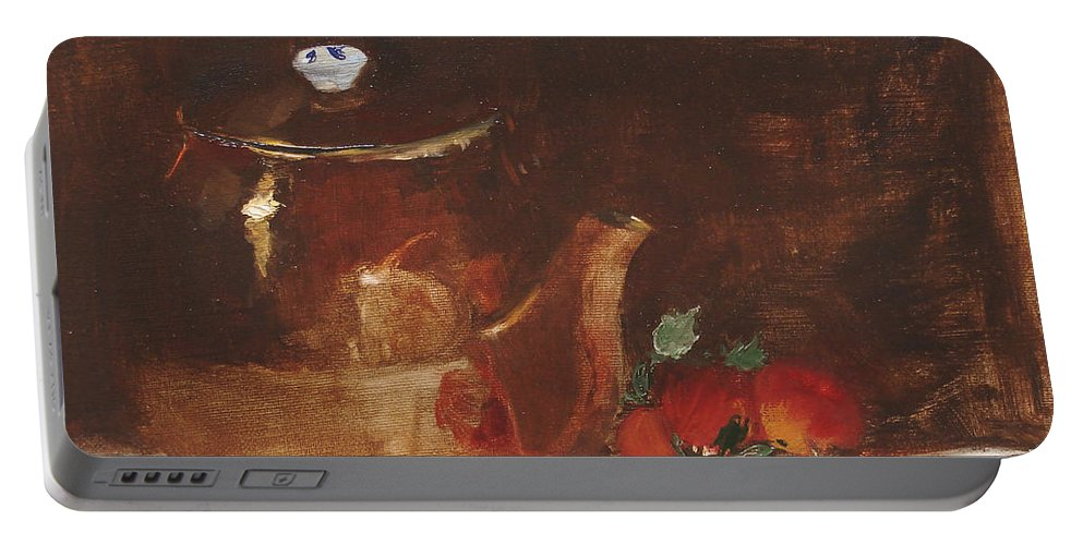 Kitchen Portable Battery Charger featuring the painting Copper Kettle by Barbara Andolsek