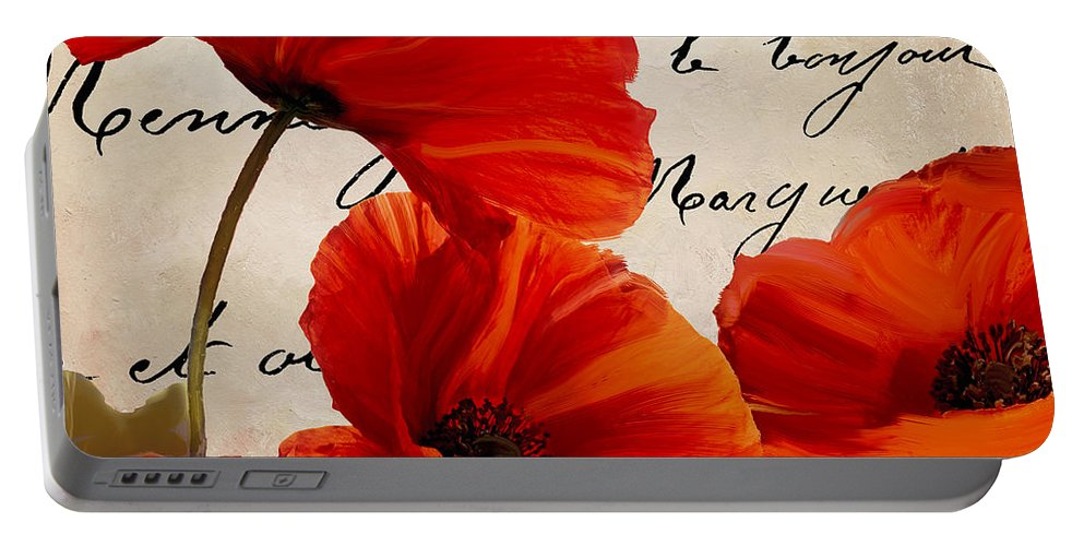 Poppies Portable Battery Charger featuring the painting Coquelicots Rouge I by Mindy Sommers