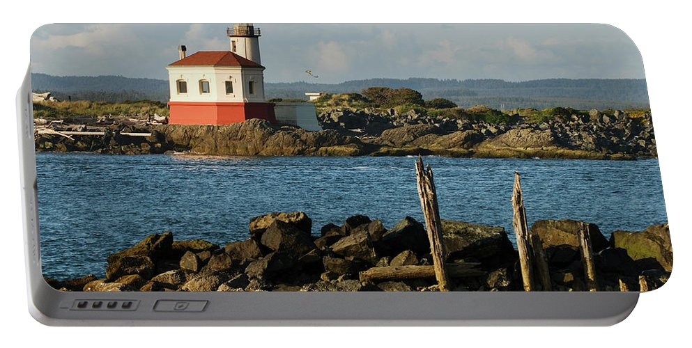 Oregon Portable Battery Charger featuring the photograph Coquille River Lighthouse Bandon Oregon by Renee Hong