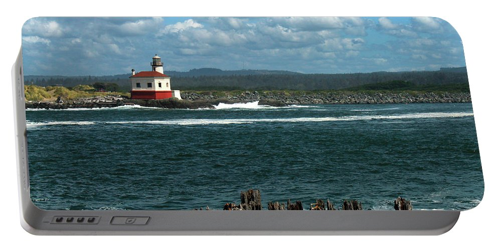 Lighthouse Portable Battery Charger featuring the photograph Coquille River Lighthouse by James Eddy