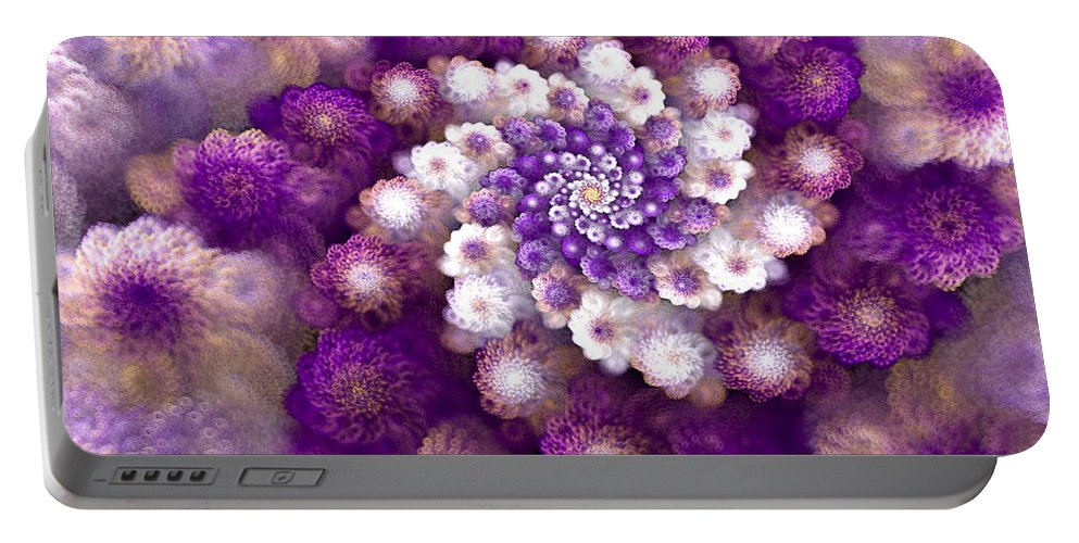 Fractal Portable Battery Charger featuring the digital art Coraled Blooms by Amorina Ashton