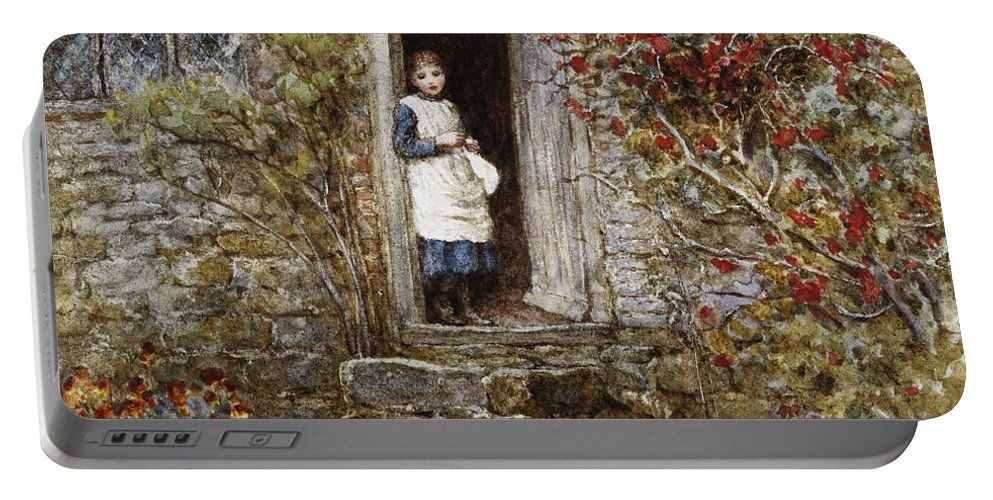 Corcorus Japonica Portable Battery Charger featuring the painting Corcorus Japonica by Helen Allingham