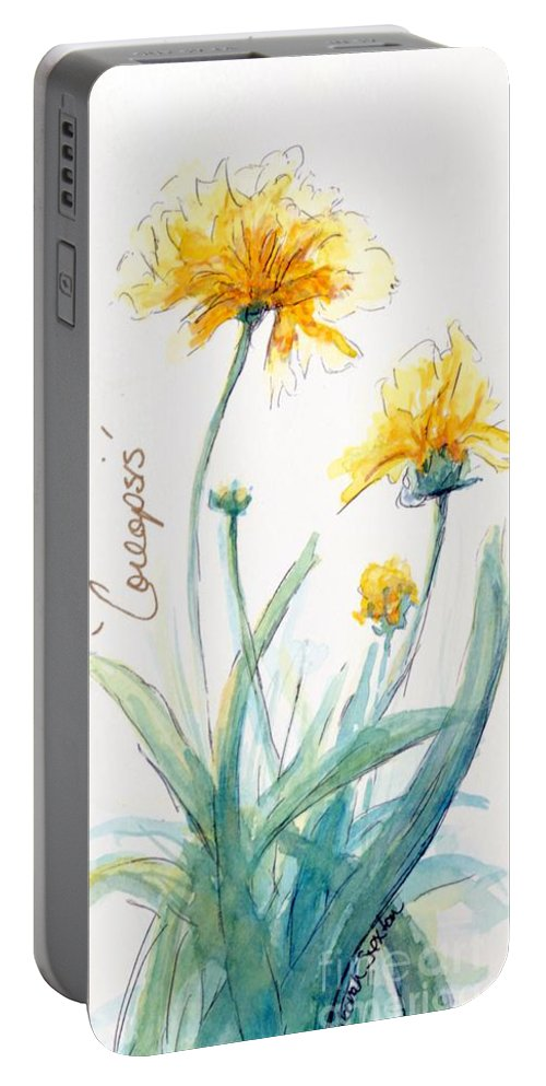 Yellow Portable Battery Charger featuring the painting Coreopsis by CheyAnne Sexton