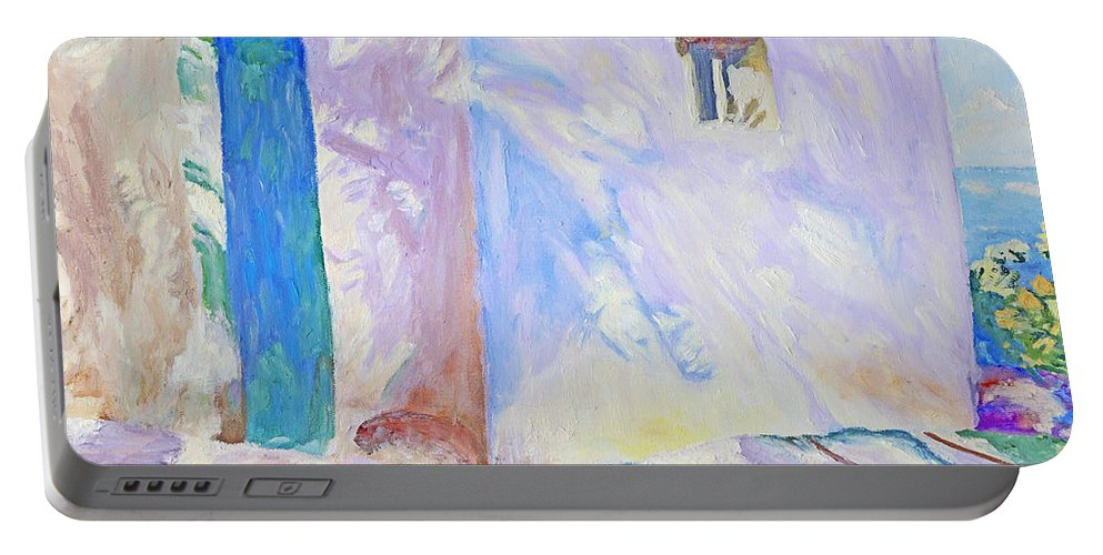 Bright Portable Battery Charger featuring the painting Corfu Lights And Shadows by Kathy Przepadlo